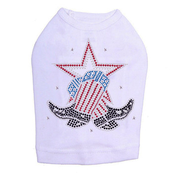 Patriotic Rhinestone Star & Boot Dog Tank - White - Size Medium
