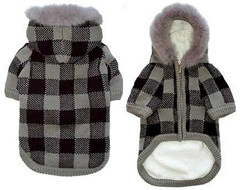 Lux Checker Hooded Dog Sweater Coat - Gray / Black
