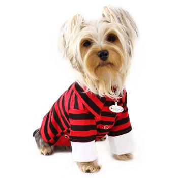 Red & Black Stripes Polo Dog Shirt - Small