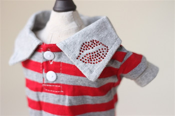 Red Lips Button Down Red Striped Dog Polo Shirt