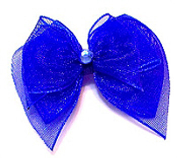 Dog Bows - Royal Blue Fairy Wings Bow Barrettes