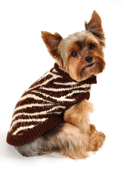 FeatherSoft Zebra Dog Sweater - Brown