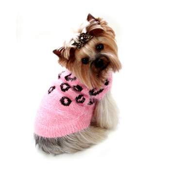 FeatherSoft Cheetah Dog Sweater - Pink