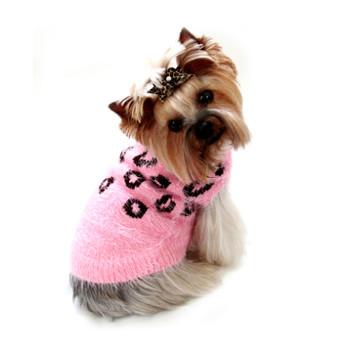 FeatherSoft Cheetah Dog Sweater - Pink