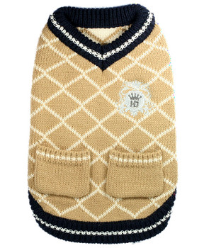 Royal Crest Dog Sweater Vest - Tan