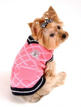 Royal Crest Dog Sweater Vest - Pink - Size Large