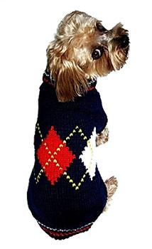 Navy Blue Argyle Dog Sweater