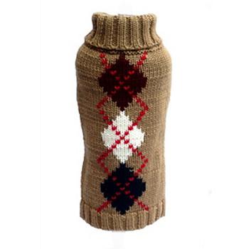 Brown Argyle Dog Sweater