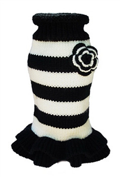 Black & White Stripe Dog Sweater Dress