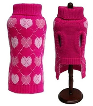 Pink Hearts Dog Sweater