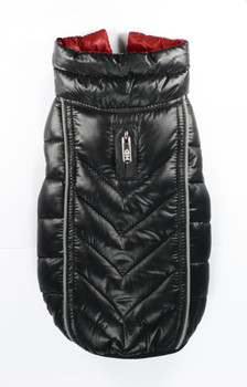 Featherlite Reversible-Reflective Dog Puffer Vest Coat - Black / Red