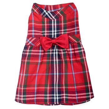Red Plaid Pet Dog Dress - Small - Big Dog
