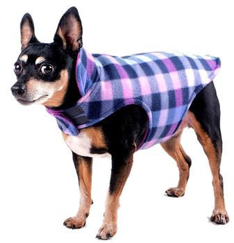 Fargo Fleece Pet Dog Jacket Coat - Purple Plaid