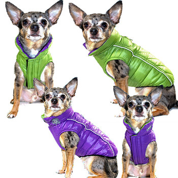 Featherlite Reversible-Reflective Dog Puffer Vest Coat - Green / Purple