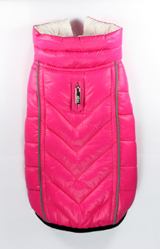 Featherlite Reversible-Reflective Dog Puffer Vest Coat - Pink / White