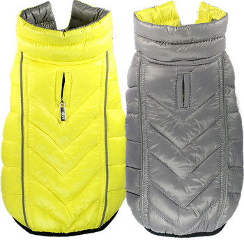 Featherlite Reversible-Reflective Dog Puffer Vest Coat - Yellow / Gray