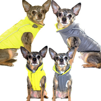 Featherlite Reversible-Reflective Dog Puffer Vest Coat - Yellow / Gray