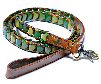 Shades of Green Leather Dog Harness - Medium