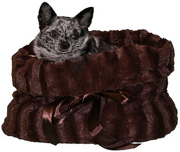 Furry Brown Reversible Dog Snuggle Bug Dog Bed / Bag / Car Seat by Pet Fly's