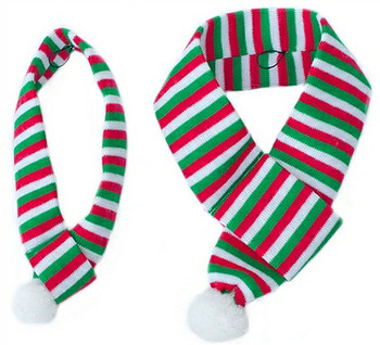 Pet Dog Christmas Holiday Striped Scarf