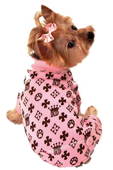 HD Crown Pink Long Johns Dog Pajamas