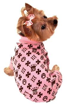 HD Crown Pink Long Johns Dog Pajamas