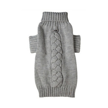 Cable Knit Light Gray Turtleneck Dog Sweater - Big Dogs Too