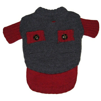 Preppy Wooly Red / Grey Dog Sweater