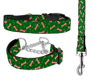 Candy Cane Bones Nylon Ribbon Dog Collar & Matching Leash - Cat & Martingale
