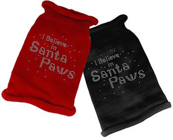 I Believe in Santa Paws Rhinestone Christmas Knit Dog Dress