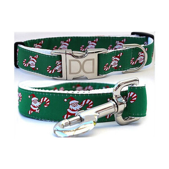 Candy Cane Santa Dog Collar & Leash