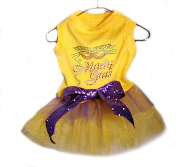 Mardi Gras Nailhead Yellow Dog Tutu Dress