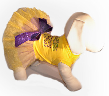 Mardi Gras Nailhead Yellow Dog Tutu Dress
