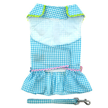 Turquoise Gingham Flower Dog Dress with Leash