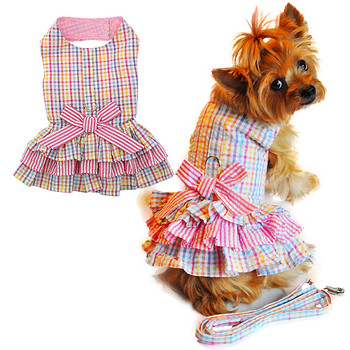 Pink Seersucker Ruffle Dog Dress with Leash