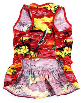 Red Beach Hawaiian Dog Dress