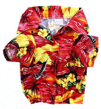 Red Beach Hawaiian Dog Shirt
