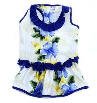 Blue Ruffle Hibiscus Hawaiian Dog Dress