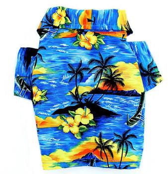 Blue Beach Hawaiian Dog Shirt