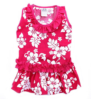 Pink Hibiscus Hawaiian Dog Dress