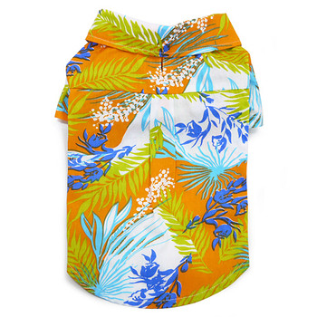 Tropical Dog Camp Shirt - Orange