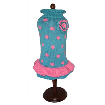 Turquoise/Pink Polka Dot Party Sweater Dress