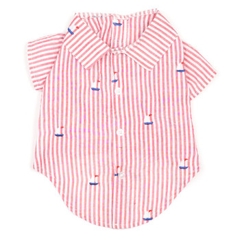 Red Stripe Sailboats Pet Dog Shirt - Small - Big Dog