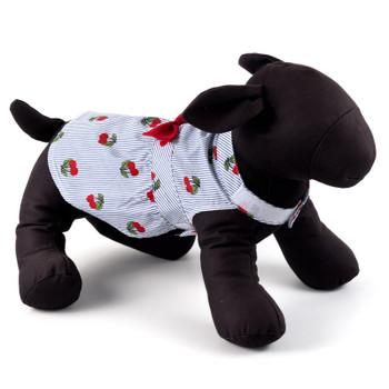 Navy Stripe Cherries Pet Dog Dress - Small - Big Dog