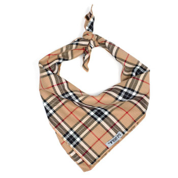Tan Plaid Dog Tie Bandana
