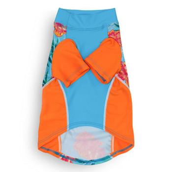 Tropical Floral Blue Sun Protective Lightweight Dog Shirt - Rash gard