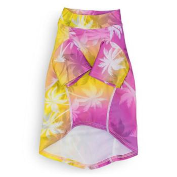 Palm Tree Pink Sun Protective Lightweight Dog Shirt - Rash gard