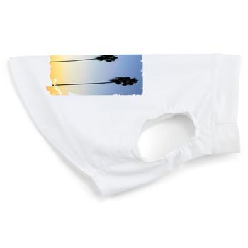 Sun Protective Dog Tank Top - Palm Tree / White
