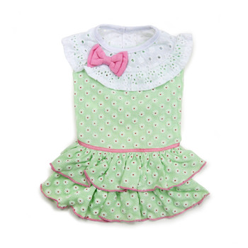 Green Little Flower Dog Dress