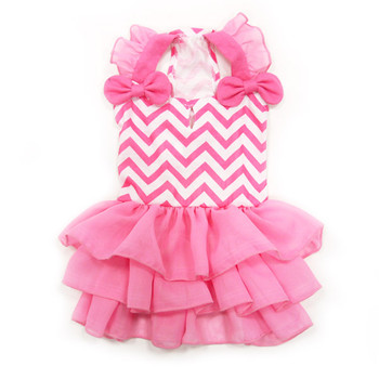 Pink Chevron Dog Dress